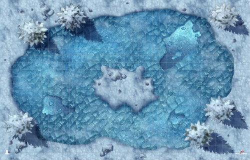 "Kraken Dice RPG Encounter Map Quick Mat- Winterwild Frozen Lake 36""x23"" by MapHammer"