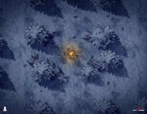 "Kraken Dice RPG Encounter Map Quick Mat- Winterwild Camp 36""x28"" by MapHammer"