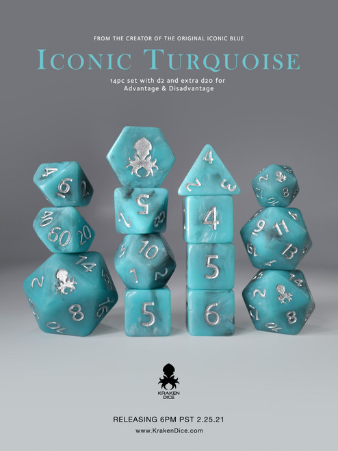14pc Iconic Turquoise Polyhedral Dice Set with Silver Ink