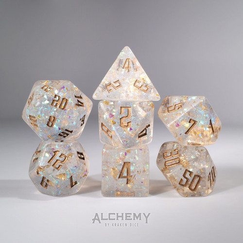 7pc Gold Holo Glitter with Copper Ink by Alchemy Dice