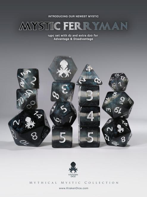 Mystic Ferryman 14pc - Limited Run - Silver Ink Dice Set