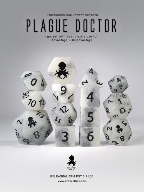 Plague Doctor 14pc Glow in the Dark Black Ink Dice Set