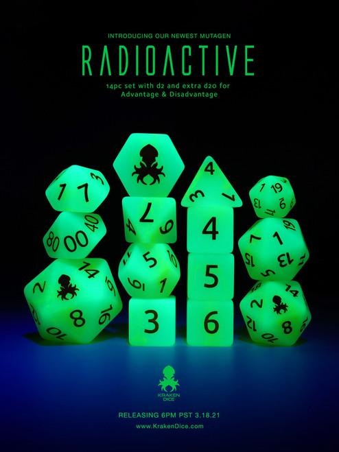 Mutagen: Radioactive 14pc Glow in the Dark Yellow Ink Dice Set