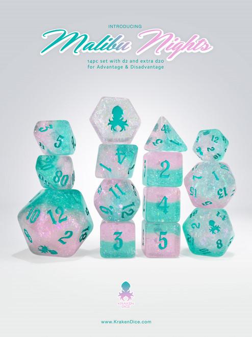 Malibu Nights 14pc - Limited Run - Teal Ink Dice Set