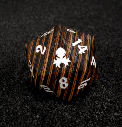Dark Colored 30mm Wooden D20