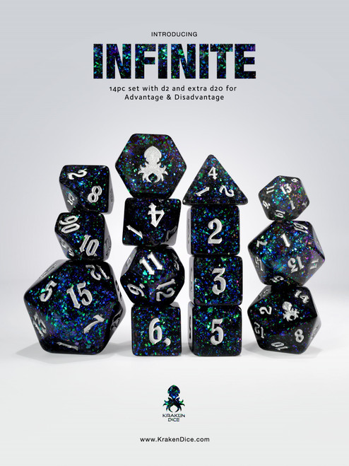 Infinite 14pc - Limited Run - Silver Ink Dice Set