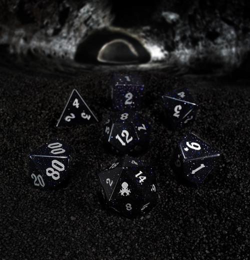 Blue Goldstone Semi-Precious 7pc Glass Dice Set for RPGs