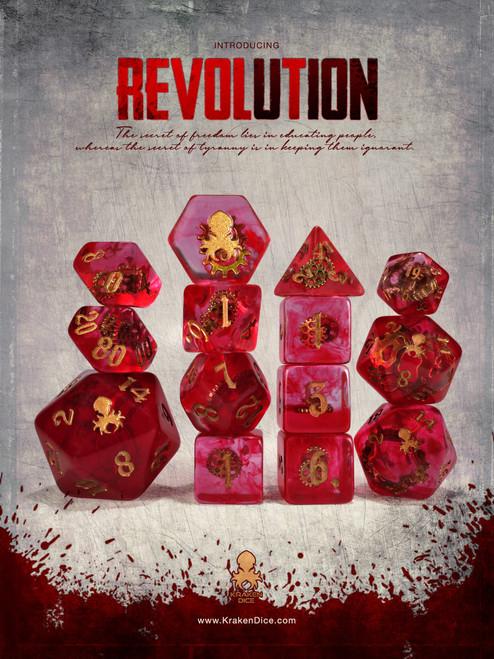 Revolution 14pc - Limited Run - Brass Ink Dice Set