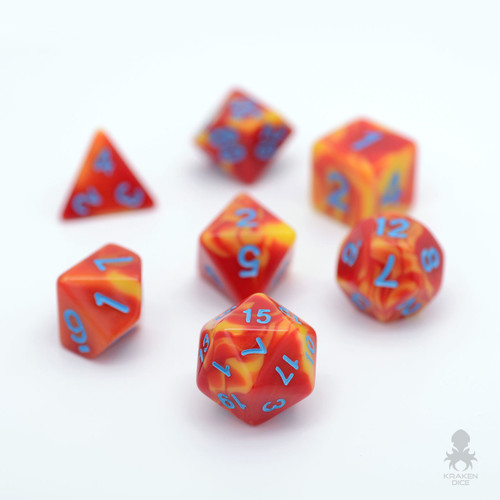 Orange Red Fusion Dice With Blue Numbers