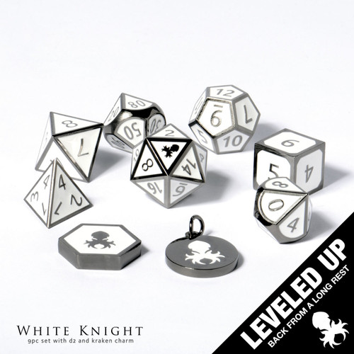 White Knight Metal Dice With White Enamel Inlayed