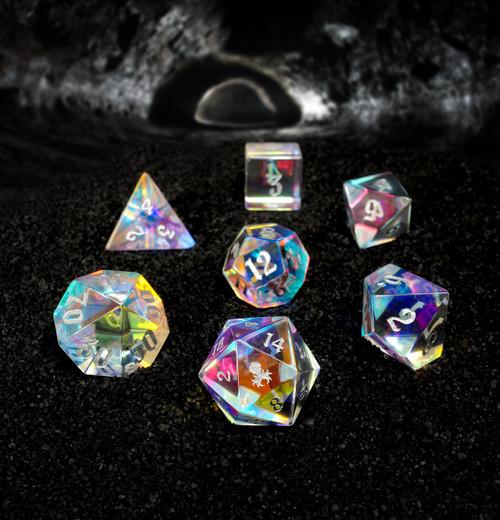 Dichroic Glass Semi-precious Gemstone Dice Set- Gothik Font