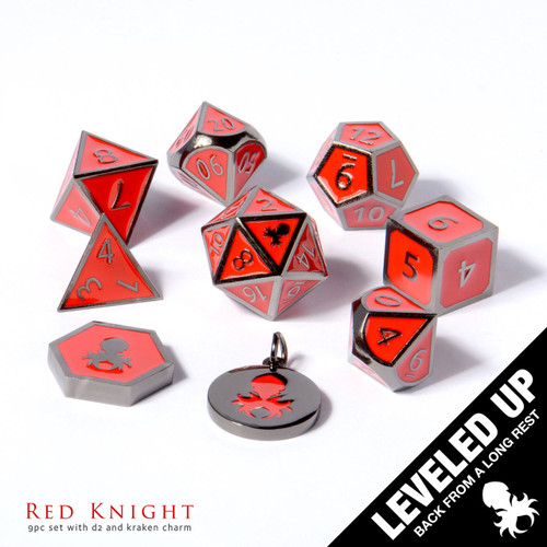 Red Knight Metal Dice With Red Enamel Inlayed