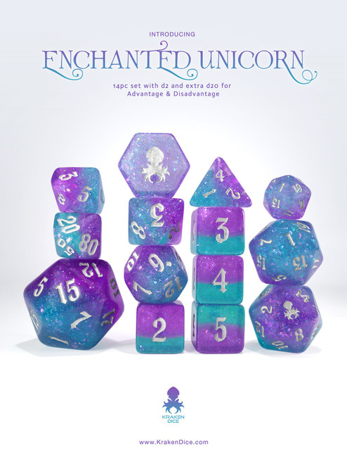 Enchanted Unicorn 14pc - Limited Run - Silver Ink Dice Set