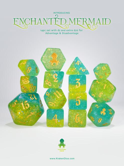 Enchanted Mermaid 14pc - Limited Run - Silver Ink Dice Set