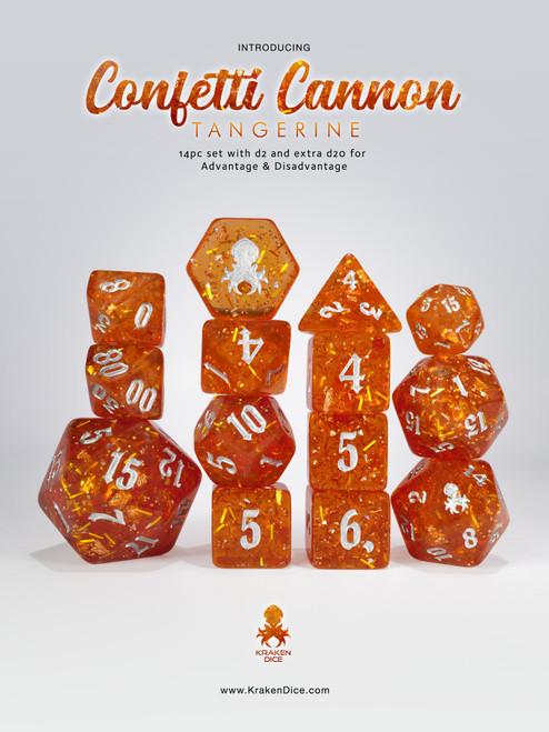 Confetti Cannon: Tangerine 14pc - Limited Run - Silver Ink Dice Set