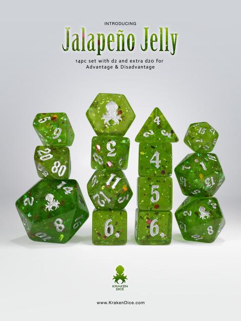 Jalapeño Jelly 14pc - Limited Run - Silver Ink Dice Set