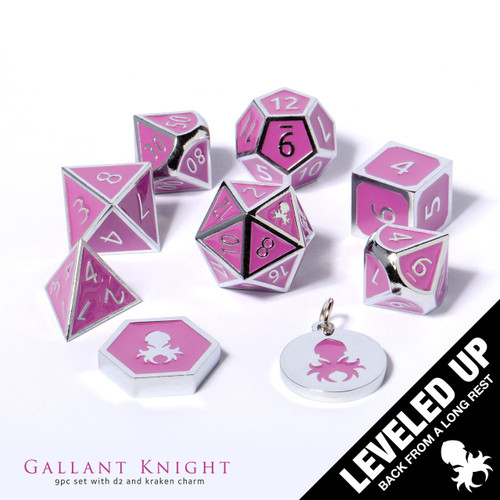 Gallant Knight Metal Dice With Purple Enamel Inlayed