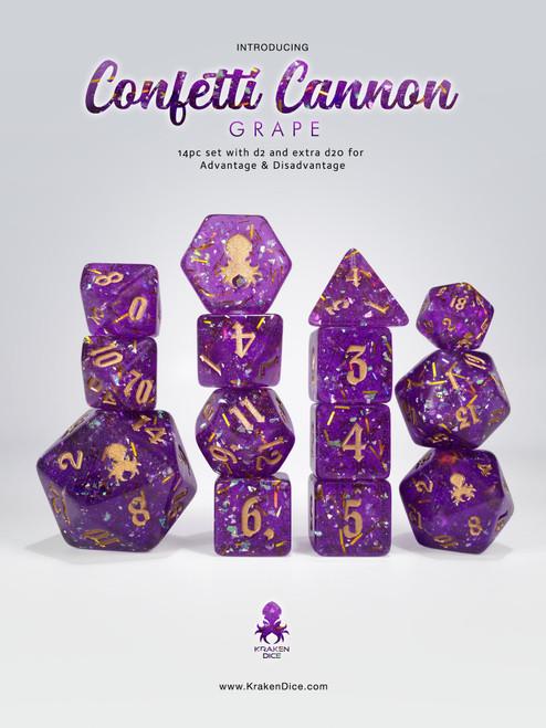 Confetti Cannon: Grape 14pc - Limited Run - Gold Ink Dice Set