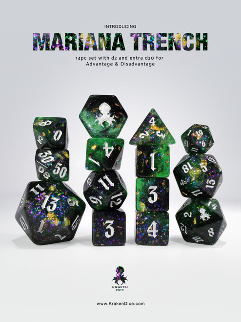 Mariana Trench 14pc - Limited Run - Silver Ink Dice Set