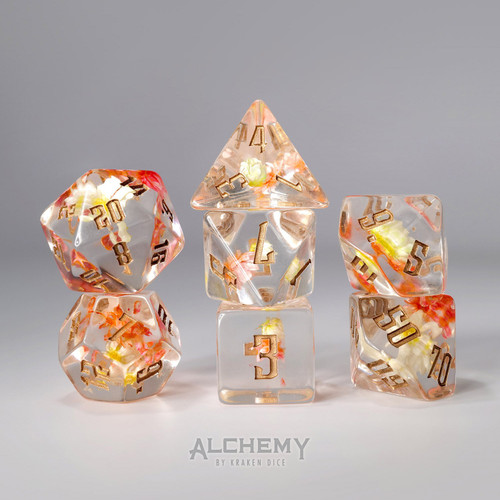 7pc Pink Flowers with Copper Ink by Alchemy Dice