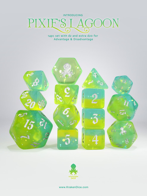 Pixie's Lagoon 14pc - Limited Run - Silver Ink Dice Set