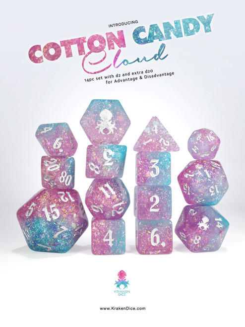 Cotton Candy Cloud 14pc - Limited Run - Silver Ink Dice Set