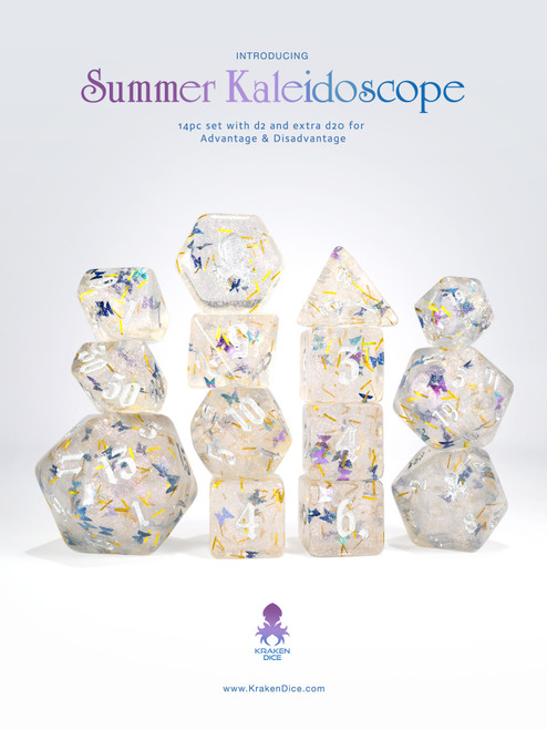 Summer Kaleidoscope  14pc - Limited Run - Silver Ink Dice Set