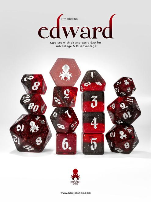 Edward 14pc - Limited Run - Silver Ink Dice Set
