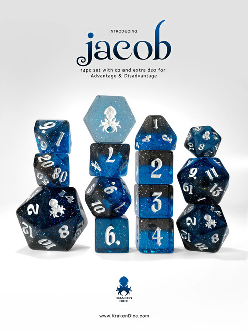 Jacob 14pc - Limited Run - Silver Ink Dice Set