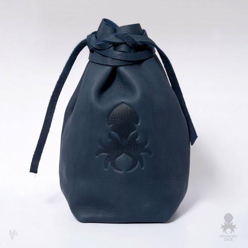 Medium Dice Bag In Blue Leather