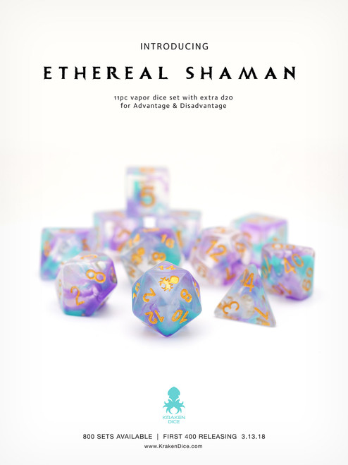 Ethereal Shaman 11pc Dice Set With Kraken Logo