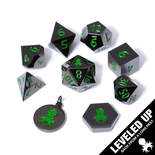 9 Pc Black Chrome Metal RPG Dice With Green Numbers & Kraken Logo