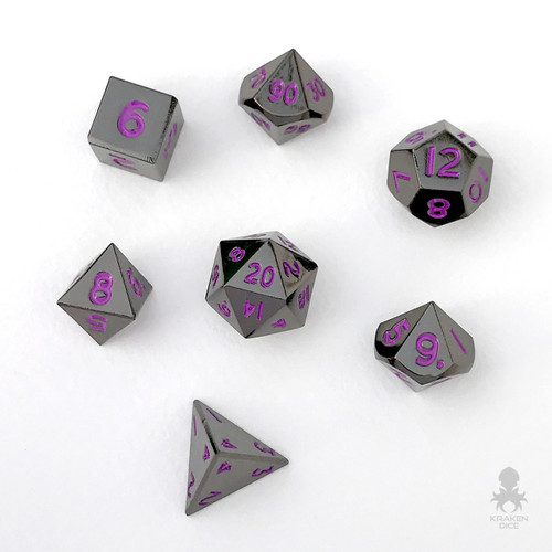Mini Black Chrome with Purple Numbers 10mm Metal Dice Set