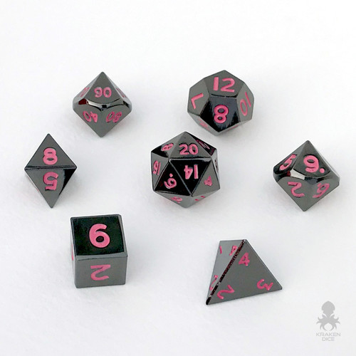 Mini Black Chrome with Pink Numbers 10mm Metal Dice Set