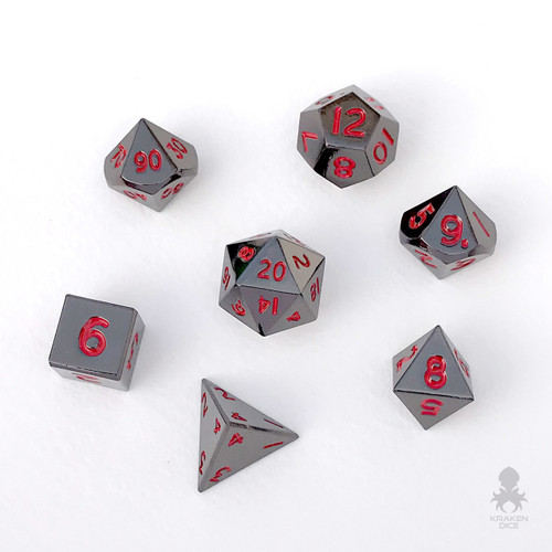 Mini Black Chrome with Red Numbers 10mm Metal Dice Set