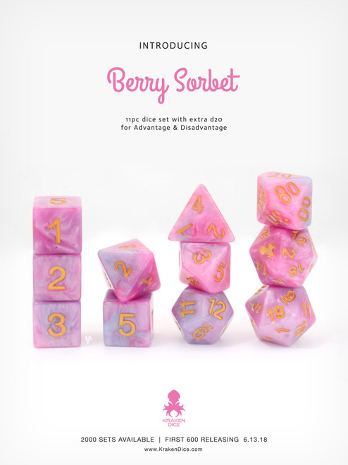 Berry Sorbet 11pc DnD Dice Set With Kraken Logo