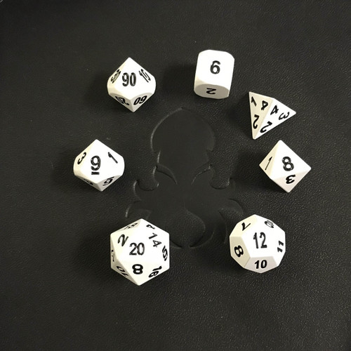 White Chrome Metal RPG Dice Set