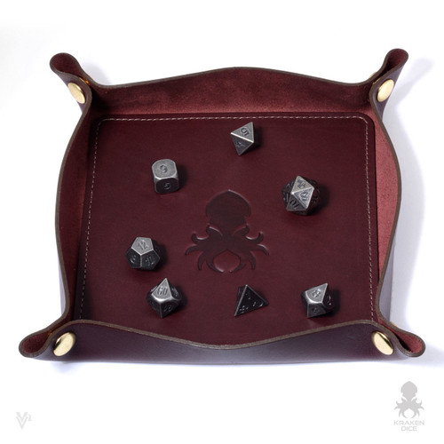 Leather Dice Tray In Oxblood