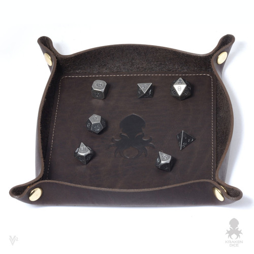 Leather Dice Tray In Coffee
