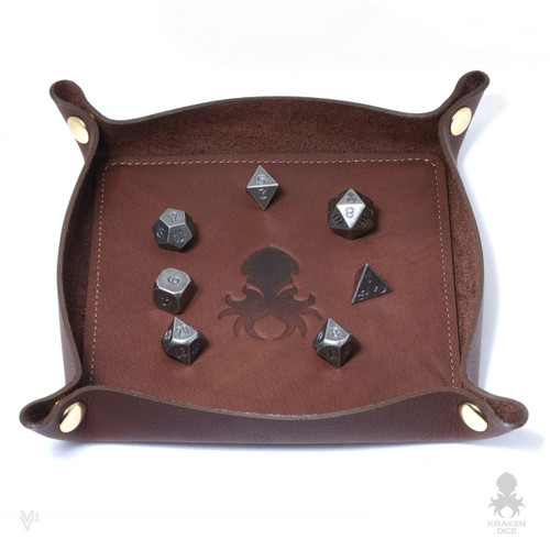 Leather Dice Tray In Chocolate