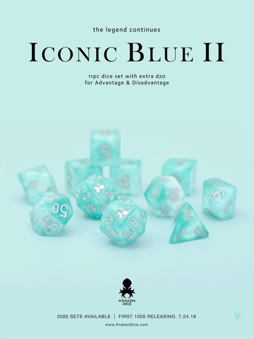 Iconic Blue 2 Dice Set With Kraken Logo 11pc Set