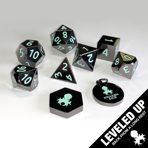 Black Chrome Metal RPG Dice With Teal Numbers & Kraken Logo
