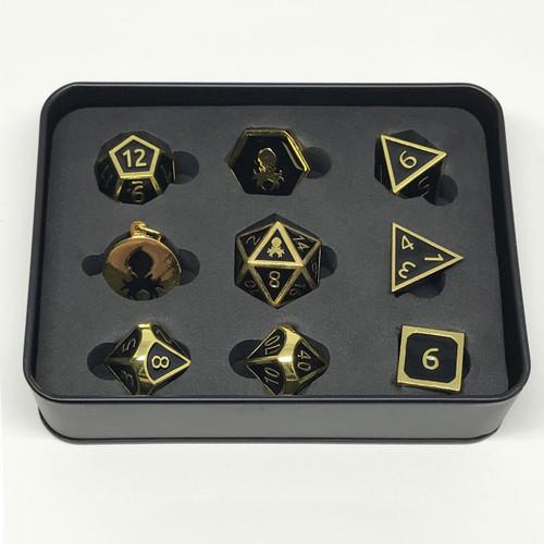 Pharaoh's Gold Onyx Metal RPG Dice