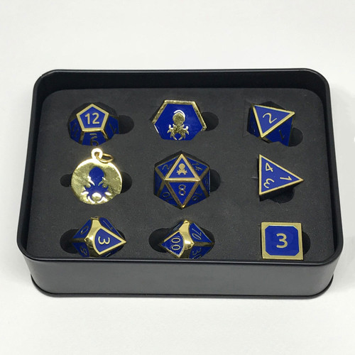 Pharaoh's Gold Lapis Metal RPG dice