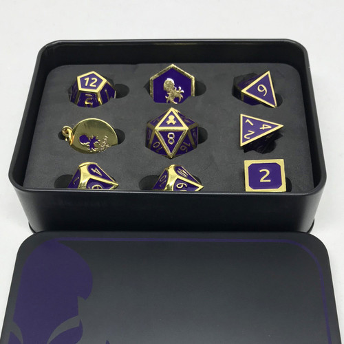 Pharaoh's Gold Amethyst Metal RPG Dice