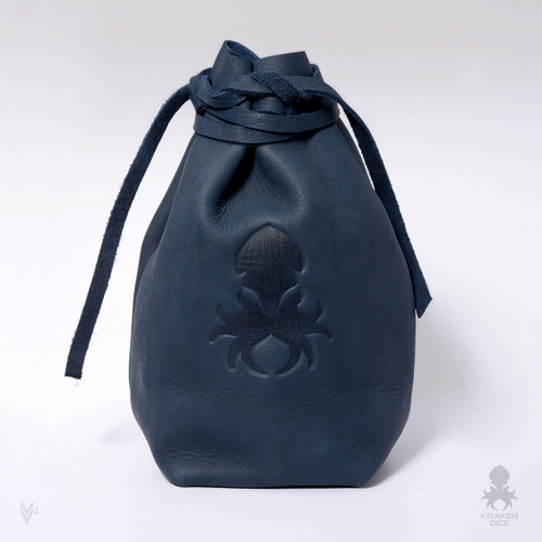 Freestanding Large Dice Bag In Blue Leather
