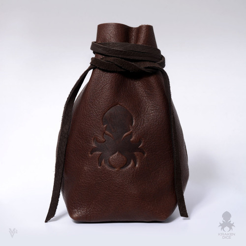 Freestanding Large Dice Bag In Brown Leather