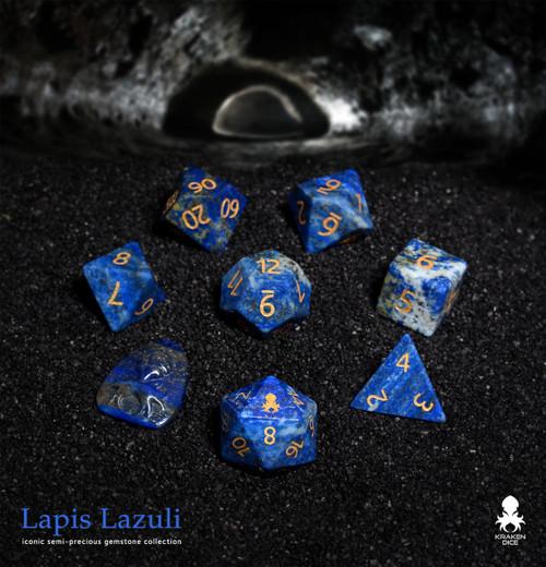 Lapis Lazuli Semi-precious Gemstone Dice Set