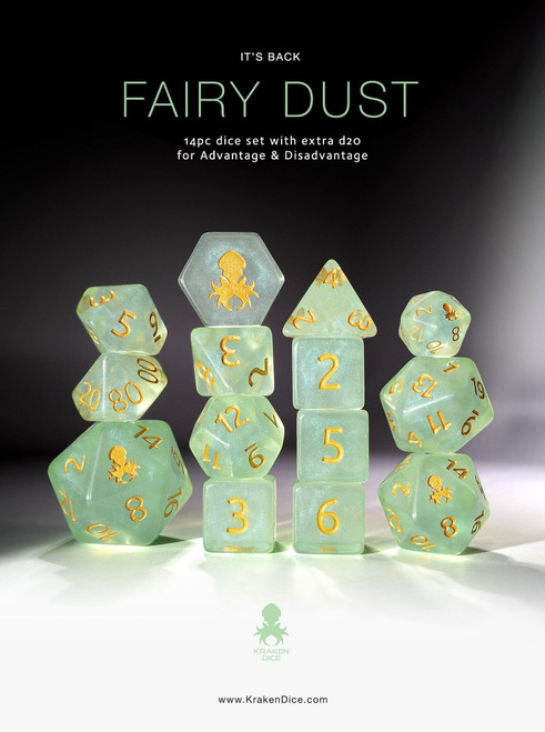 Fairy Dust Mystics 14pc DnD Dice Set With Kraken Logo