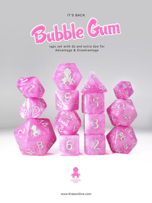 Bubble Gum 14pc DnD Dice Set With Kraken Logo